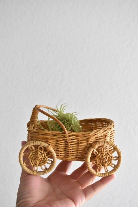 vintage woven wicker car wagon basket