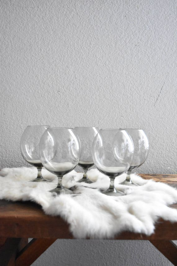 mad men gray grey stemware cocktail glasses / set of 5