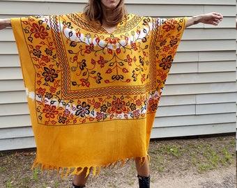 marigold yellow cotton gauze fringe kaftan caftan coverup beach resort beach muu muu textile cool bohemian boho chic hippie festival dress