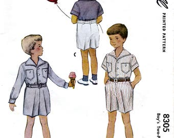 McCall 8305 Vintage 50s Sewing Pattern for Boy's Two-Piece Suit - Size 4