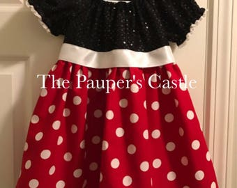 Disney Sparkle Minnie Mouse Dress / Costume /Girls/Child's/Toddler Casual Cotton Pull Over Dress