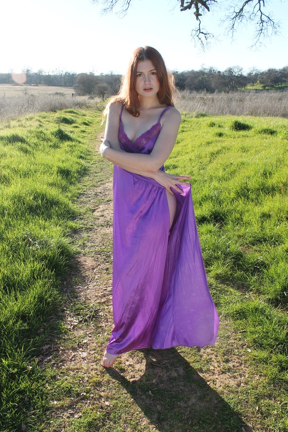 PASSION FLOWER Slip Dress 1970's Vintage Night Gown Lingerie Nightie