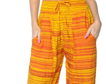 La Leela Soft Rayon Swimwear Women Plush Lounge Beachwear Pockets Pajama Pants Orange - 901296