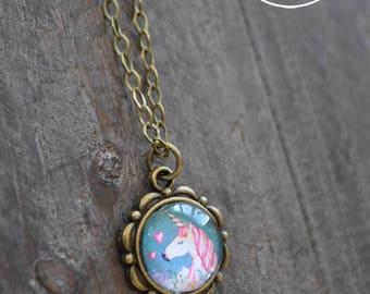 Collier médaillon - Collier licorne - Bijou style vintage - Gypsy jewelry - Coco Matcha