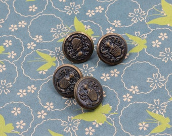 Vintage Emblem Brass Buttons Lot of 4 Metal Fancy Novelty Sewing Supply Notion Cottage Shabby Craft Military Style