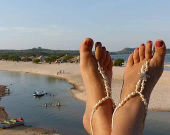 Barefoot Sandals, Anklet, Beach Wedding Barefoot Sandals, Freshwater Pearls and Starfish Barefoot Sandals, BOHO Barefoot Sandals, Jewelry