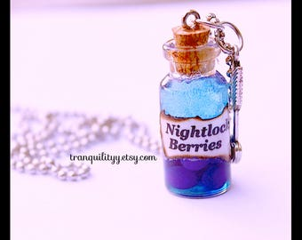 Nightlock Berries Potion Necklace Hunger Games Inspired , glass vial  2ml Bottle necklace,  By: Tranquilityy