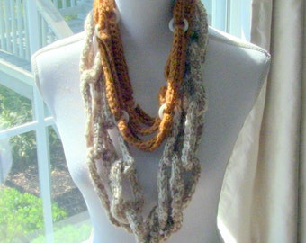 Womens Scarf, Scarf, Chain Scarf, Chain Link Scarf, Necklace Scarf, Scarf Necklace, Yarn Art Necklace