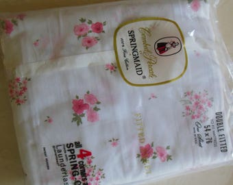 Tiny Pink Floral Print Double Fitted Sheet, By Springmaid, New Old Stock