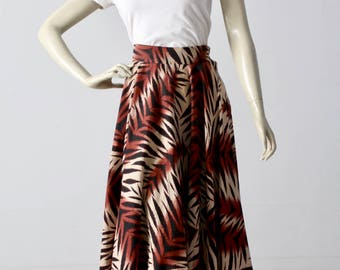 vintage 1950s circle skirt, jungle print full skirt