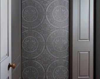 Tile Wall STENCIL -  Renaissance Medallion Tile Pattern for walls, floors, fabric - REUSABLE, Easy Wall Decor, DIY Home
