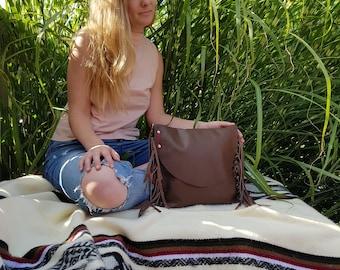 Brown leather fringe bag