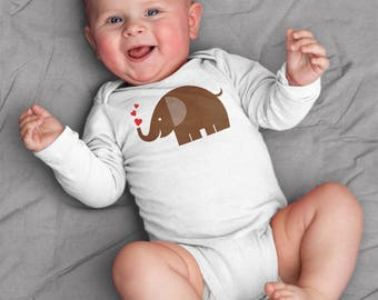 Valentines baby clothes, elephant and hearts baby bodysuit