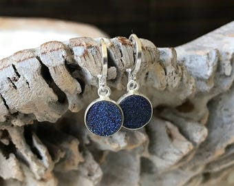 Silver Blue Druzy Earrings