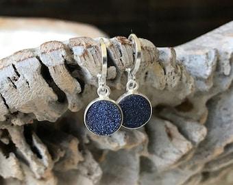 Silver Blue Druzy Earrings