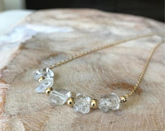 Rough Herkimer Diamond Necklace in Gold or Silver