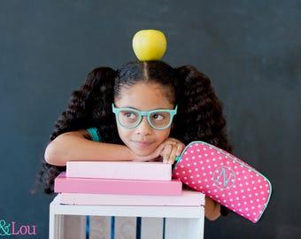 Personalized Pencil Case - Pencil Pouch, Pencil Holder, Pencil Bag, Monogrammed Back To School, School Supplies, Girls School, Dottie