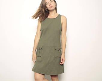 vintage DARIA mini dress olive pockets poly GRUNGE y2 mid 90s vintage dress