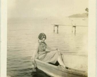 "Vintage Photo ""Lake Beauty"" Snapshot Antique Black & White Photograph Found Paper Ephemera Vernacular Interior Design Mood - 127"