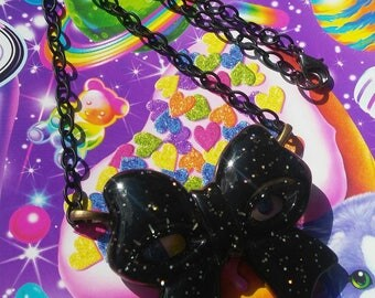 Black Glitter Bow Necklace