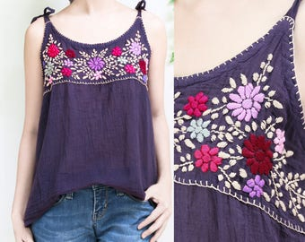 Boho Cami Top, Floral Hand Embroidered Camisole Top, Loose Fit Summer Cotton Tank Top with Self Tie Spaghetti Straps, Festival Top, Purple