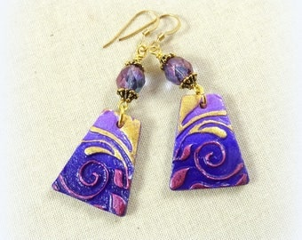 Lightweight Purple and Gold Earrings, Purple Earrings, ArtisanClay Drops with Czech Glass Beads and 14K Gold Ear Wires, Boho Artisan Earring
