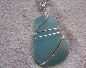 Blue Sea Glass Necklace Real Sea Glass Pendant Natural Beach Glass Aqua Sea Glass Jewelry Mermaid Jewelry