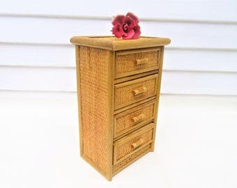 vintage bamboo chest small chest of drawers wicker chest mini storage cabinet