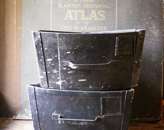 Vintage Triangular Hardware Storage Drawers - Rustic Industrial Bins for Holding Stuff!