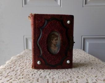 Antique Photo Album - Civil War Era, 1800s Tin Type Photos, Memorabilia, Americana, Collectible, Victorian Photos, Vintage Leather Album