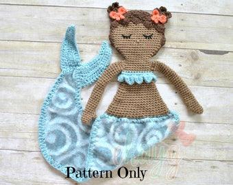 Crochet Pattern, Chastity Mermaid Fleece Lovey Doll