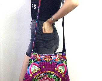 Hmong Old Vintage Style Ethnic Thai Boho Hobo Medium Size Bag