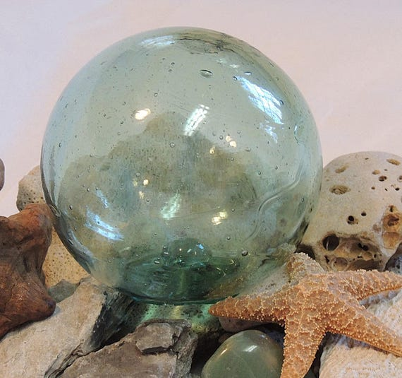 "Vintage 13.5"" In Circumference Japanese GLASS FISHING FLOAT.. Bubbles & Threads (#15)"