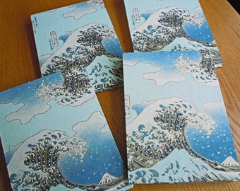 """Hokusai's """"The Wave"""" Yuzen print in Blues on a 6 x 8 Accordion Fold BFK Alternative Guest Book Photo Album Sketchbook with Deckle Edge"""