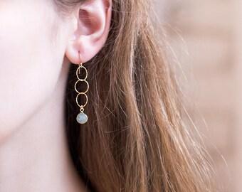 Dainty Aquamarine Drop Earrings, March Birthstone Jewelry, Simple Bridesmaid Earrings, Long Chain Earrings, Tiny Hoops, Birthday Gift Women