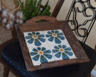Vintage 70s Flower Tile Wooden Serving Tray with Handles