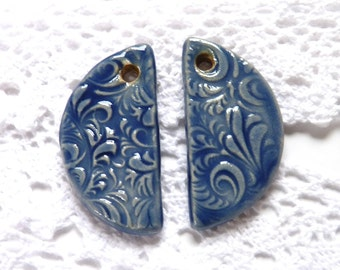 Earring charms ~ jewellery supplies, handmade jewelry making components, stoneware earring charms, blue earring, ceramic findings component