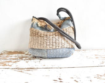 Woven Patchwork Basket Purse Blues and Neutrals - One of a Kind Ready to Ship