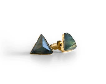 Gemstone Stud Earrings, Triangle Stud Earrings, Labradorite Modern Stud Earrings, Minimal Gold Earrings, Minimal Studs, Gifts for her
