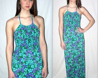 Tide & seek ... Vintage 60s halter maxi dress / mod sundress / flower power psychedelic / hippie boho festival beach resort XXS XS
