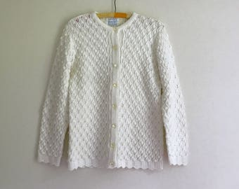 vintage bright white knitted cable cardigan sweater - M/L