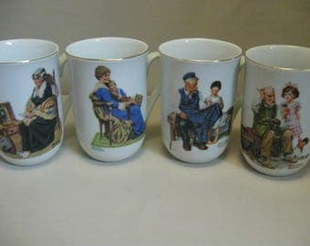 Norman Rockwell Qty 4 Mugs Memories Bedtime Light House Keepers  Cobbler 1982