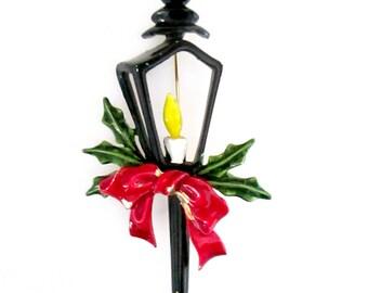 1970s Enamel Christmas Brooch // ART Lantern Holly Bow Pin