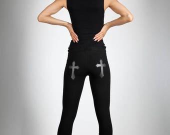 Yearly Sale: Cross Leggings, Vegan Leather, Black Stretch Cotton Pants, Glam Rock Clothing, Gothic Dance Wear, Minimalist Fashion, by LENA Q