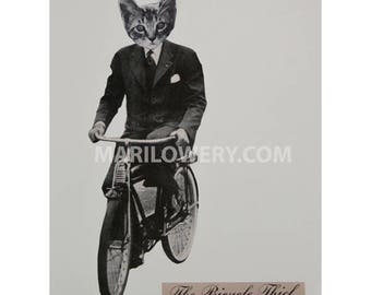 Cat in Clothes Art, Animal on Bicycle, Paper Collage Print, 8.5 x 11 Inch Print, Cat in Suit on Bike, Retro Mod Art, frighten