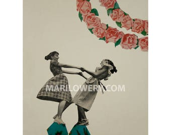 Paper Collage Print, Whimsical Wall Art, Sisters Gift, 8.5 x 11 Inch Print, Girls Dancing, Retro Art, Floral Wall Decor