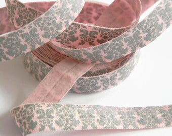 "Pink and Gray FOE 5 yards of 5/8"" Fold Over Elastic Grey Damask Print Baby Girl Headbands Connectors Sewing Crafts Wedding Spring Summer"