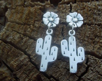 Little Fat Saguaro Cactus Flower Sterling dangle post Earrings