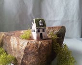porcelain miniature watercolored house rose green textured roof dormer tiny fairy garden house ceramic collectible house enchanted gardening