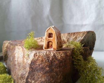 two story tiny coffee colored cottage miniature ceramic house recessed windows enchanted fairy garden decoration terrarium decor flowerpot